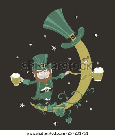 Patrick and crescent moon dancing in the sky.  - stock vector