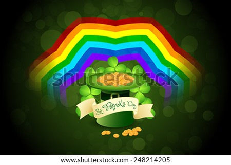 Patrick's Day Card with  Leprechaun Hat, Gold Coins, Rainbow and Shamrock - stock vector