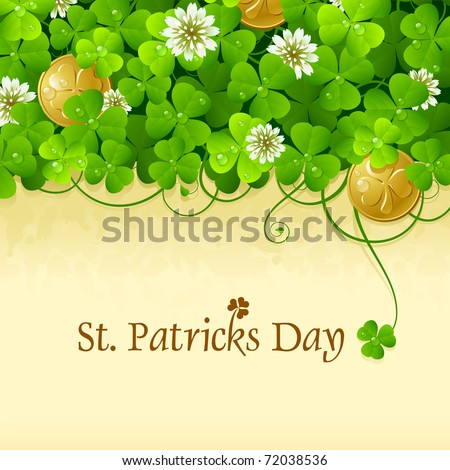 Patrick's Day frame with clovers and golden coins, contains space for your text. 5 - stock vector