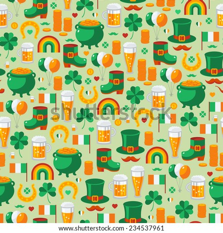 Patrick's Day seamless pattern with traditional symbols. Vector illustration. Green clover, leprechaun hat, pot with coins, Irish beer. - stock vector