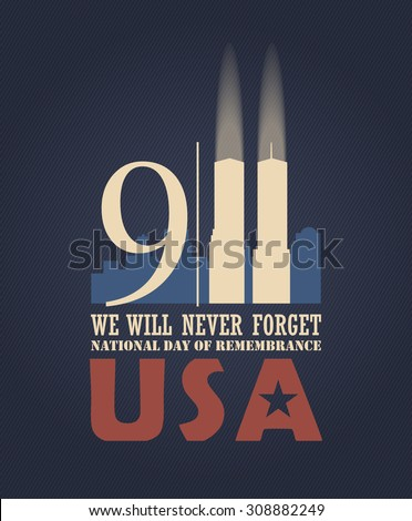 Patriot day vector poster. September 11.  - stock vector