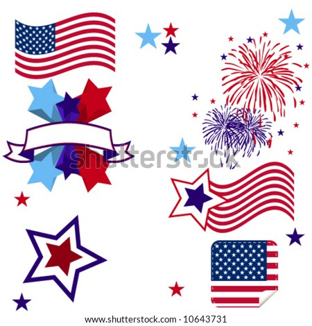 Patriot 4th July Elements - stock vector
