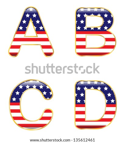 Patriotic ABCD - stock vector