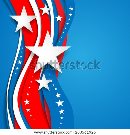 Patriotic abstract background with stars. Place for text. Holiday patriotic card for Independence day, Memorial day, Veterans day, Presidents day and so on. - stock vector