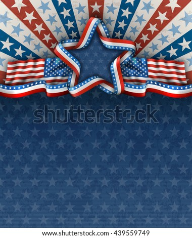 Patriotic american background for fourth of july, with american flags and star, EPS 10, contains transparency. - stock vector