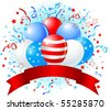 Patriotic American design with balloons, confetti & copy space ribbon. - stock vector