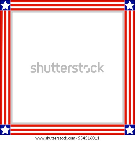 Patriotic American Flag Frame Empty Space Stock Vector 554516011 ...
