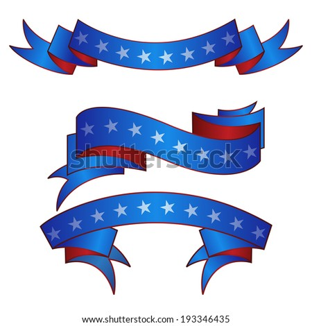 Patriotic American flag theme banners ribbons set of vector