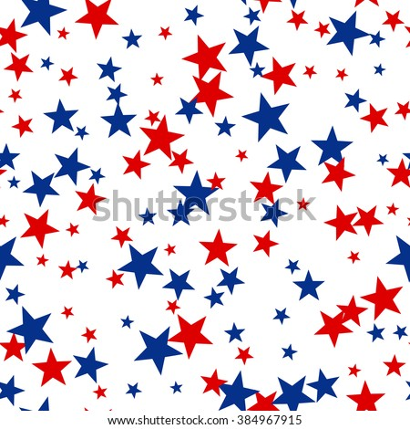 Patriotic American Vector Seamless Pattern with Red and Blue Stars on White Background - stock vector