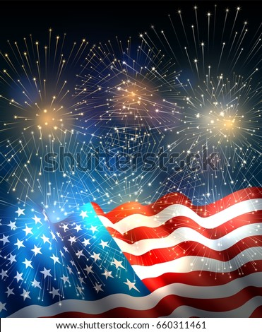patriotic background with american flag and fireworks background for fourth of july independence day
