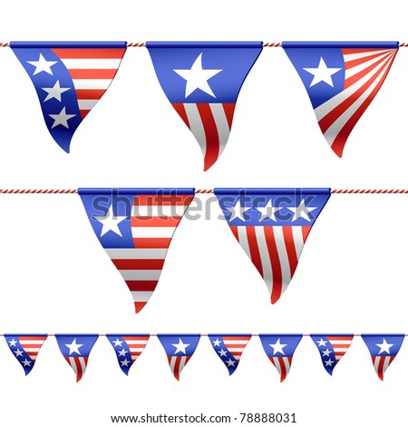 Patriotic bunting flags. Seamless vector (horizontally). - stock vector