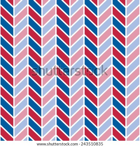 Patriotic Chevron pattern in red, white and blue repeats seamlessly. - stock vector