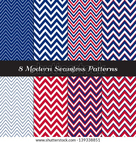 Patriotic Chevron Patterns in Red, White and Blue. Perfect as 4th of July or Nautical background. Pattern Swatches made with Global Colors - easy to change all patterns in one click. - stock vector