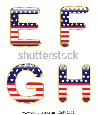 Patriotic EFGH - stock vector