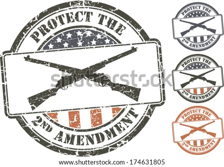 Patriotic grunge stamp; crossed rifles. Protect the Second amendment U.S. constitution - stock vector