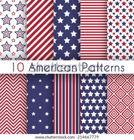 Patriotic red, white and blue geometric seamless patterns. Vector set with American symbols. USA flag.