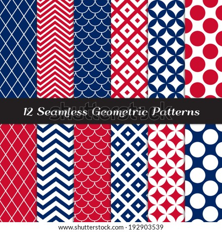 Patriotic Red, White & Blue Retro Geometric Seamless Patterns. July 4th Backgrounds in Jumbo Polka Dot, Diamond Lattice, Scallops, Quatrefoil and Mod Chevron. Pattern Swatches made with Global Colors. - stock vector