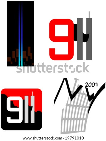 Patriotic remembrance symbols of twin towers and terror attack of 9/11/2001 in New York, USA - stock vector