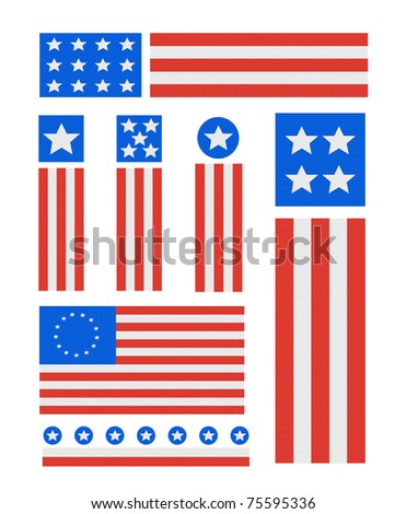 Patriotic Ribbed Fabric USA Vector Icon set isolated on white - stock vector