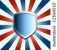 Patriotic shield emblem on red white and blue background - stock photo