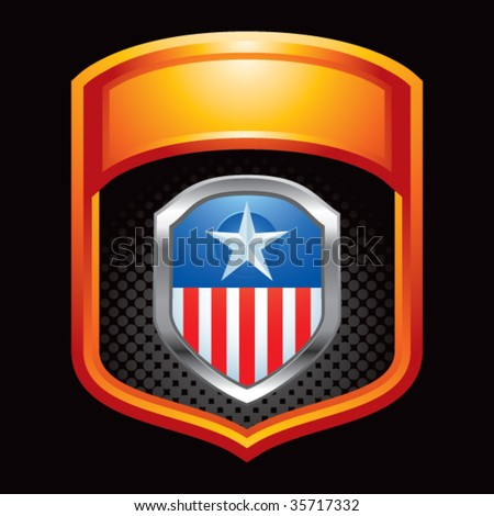 patriotic shield on gold display - stock vector