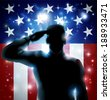Patriotic soldier or veteran saluting in front of an American flag background  - stock vector