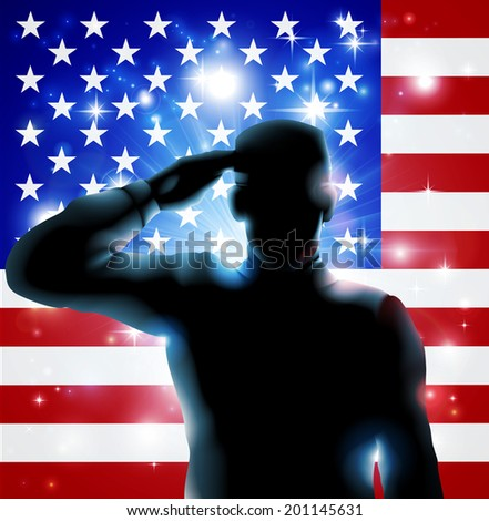Patriotic soldier or veteran saluting in front of an American flag Fourth July, Verterans Day or Independence Day illustration  - stock vector