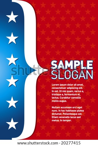 Patriotic template. Can be used as a poster or an invitation card. Just place your own texts and titles. - stock vector