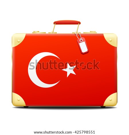 Patriotic Turkey suitcase in the red, white and blue colors of the tricolor national flag of France with a small blank name tag and brass fittings over white with a shadow - stock vector