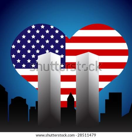 Patriotic Twin Towers Memorial - stock vector