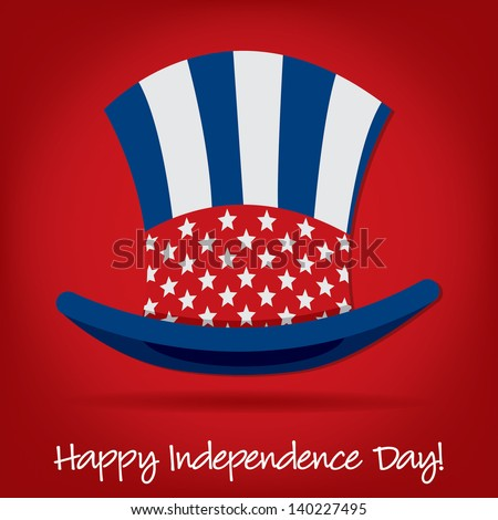 Patriotic Uncle Sam hat 4th of July card in vector format.