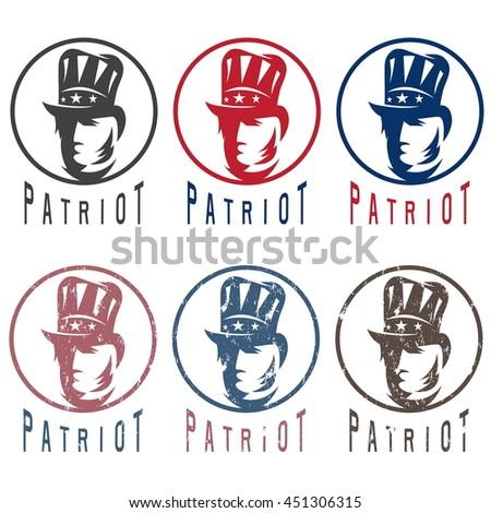 Patriotic Uncle Sam vintage vector labels set - stock vector