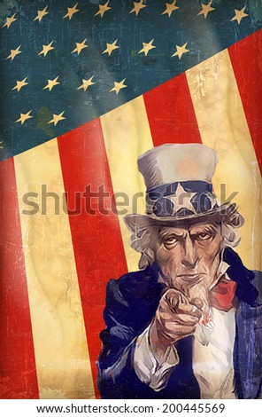 patriotic USA background with uncle Sam vector