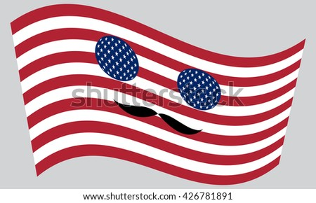 Patriotic USA icon in style of American flag waving with mustaches - stock vector