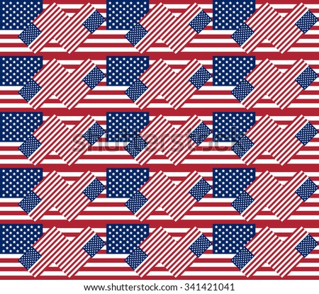 Patriotic USA seamless pattern for background or texture made from american flags - stock vector