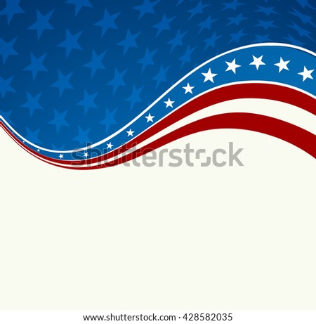 Patriotic wave background. USA flag. Independence Day banner.