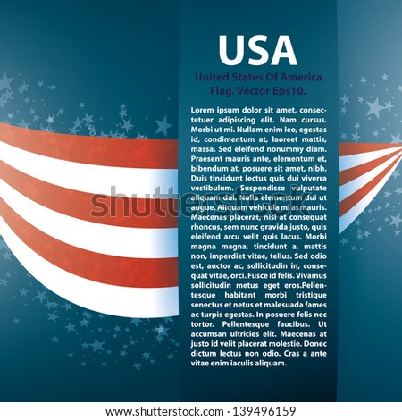 Patriotic wave background with stripes, stars - stock vector