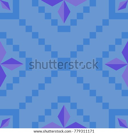 pattern abstraction square blue star purple