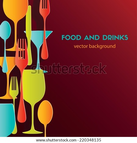 Pattern background. Food and drinks - stock vector