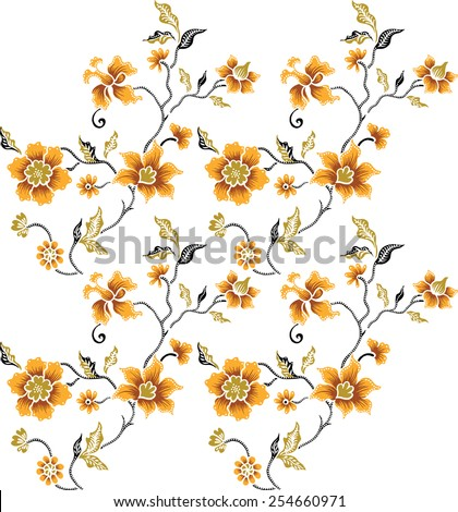 Pattern background with orange flowers. - stock vector