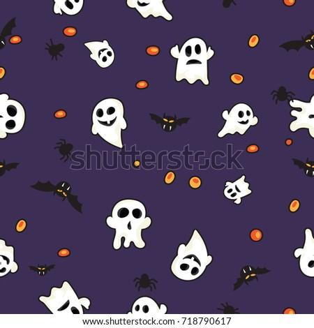 Pattern Bats Ghost Hallowen Orange Pumpkin Stock Vector 718790617 ...