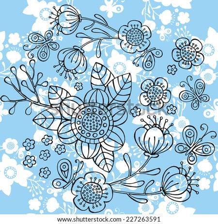 Pattern Birds flowers Blue outline - stock vector