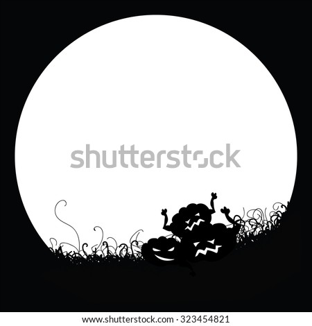 Pattern black and white poster. Pumpkins on the background of the moon. Vector graphics