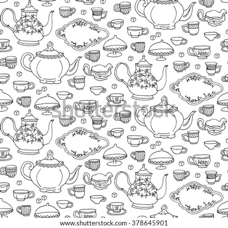 Pattern black kitchen pottery tea time tea party drinking tea tea service tea set teapot teacup cup dish tea board sugar coffee seamless  - stock vector