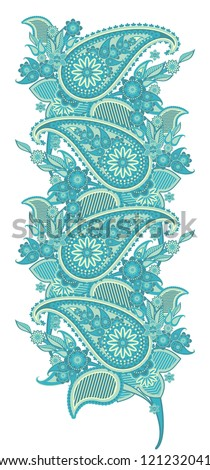 pattern border based on traditional Asian elements Paisley - stock vector