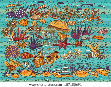 Pattern, bright and colorful underwater world