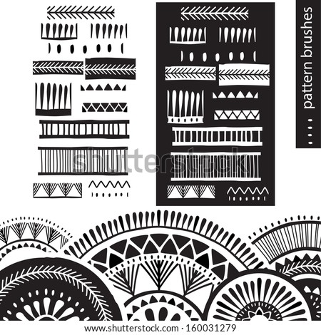 Pattern brushes - stock vector