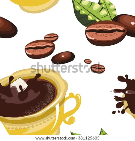 pattern coffee beans, gold coffee Cup - stock vector