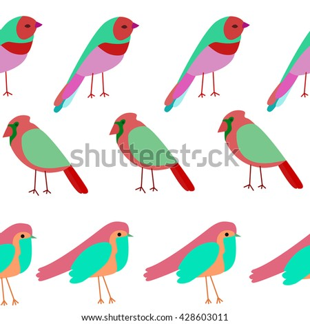 pattern colored birds. Spring birds seamless pattern. Colorful texture - stock vector