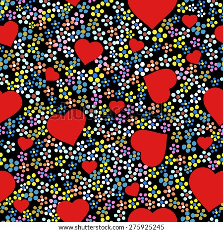 Pattern - Colorful floral seamless / repeating pattern with hearts. Black background with small stylized multicolored flowers and red hearts. Editable vector.  - stock vector